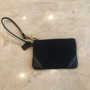 Coach Black Canvas and Leather Wristlet